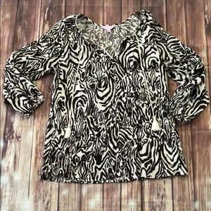 Lilly Pulitzer sample tunic brown zebra small